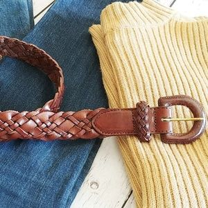 Land's End Braided Leather Belt Size 30